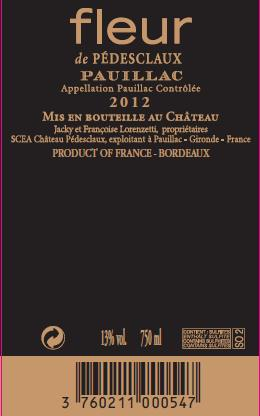 Fleur De Pedesclaux Aoc Pauillac Red 2012 Technical Sheet