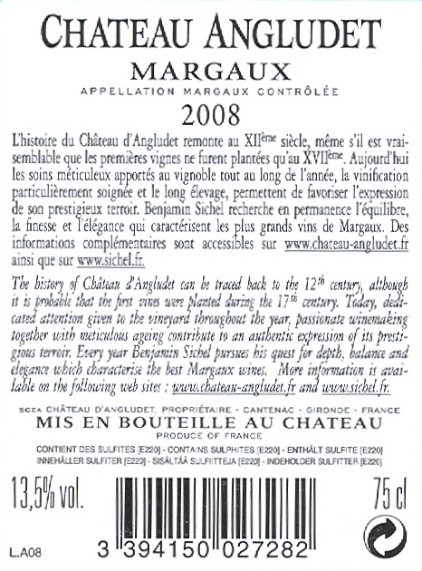 Château Angludet AOC Margaux Tinto sm