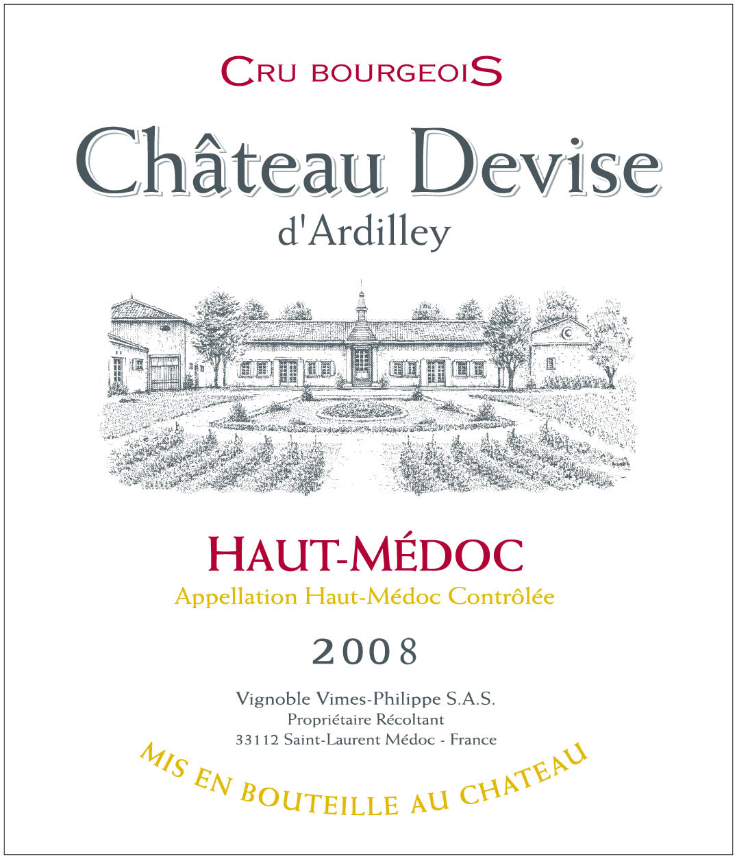 Chateau Devise D'Ardilley(迪威酒庄) AOC 上梅多克(Haut-Médoc) 红葡萄酒 2008