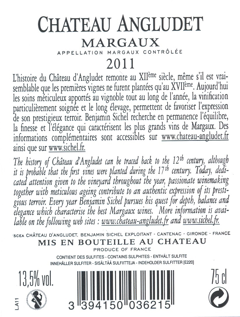 Château Angludet AOC Margaux Red 2011