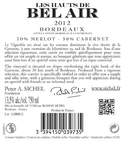 Les Hauts de Bel Air AOC Bordeaux Red 2012
