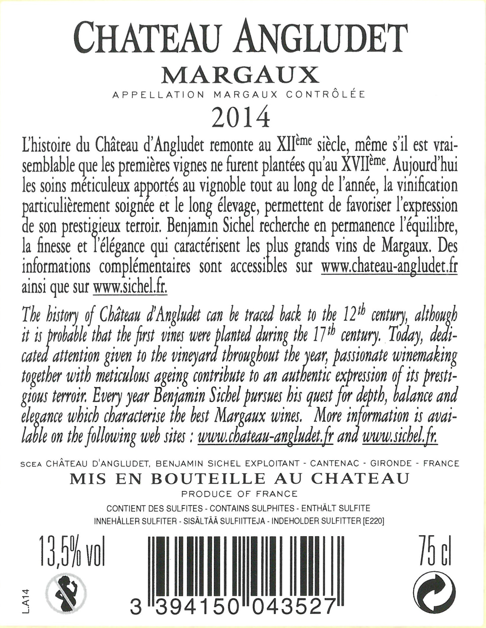Château Angludet AOC Margaux Red 2014