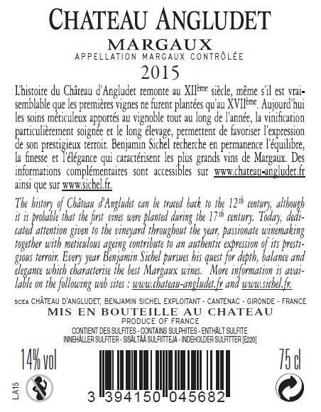 Château Angludet AOC Margaux Rot 2015