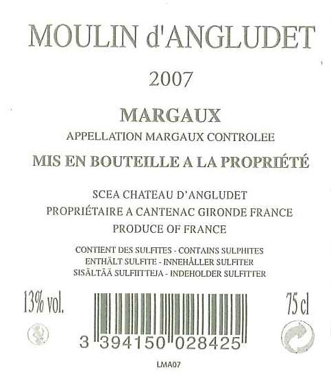 Moulin d'Angludet AOC Margaux Tinto sm