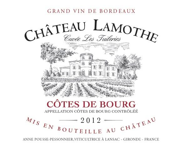 Château Lamothe - Cuvée Les Tuileries AOC Côtes de Bourg Rouge 2012 - Fiche technique