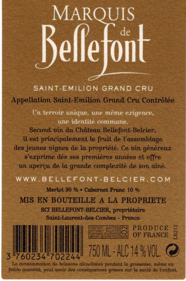 Marquis de Bellefont AOC Saint-Emilion Grand Cru Red 2012