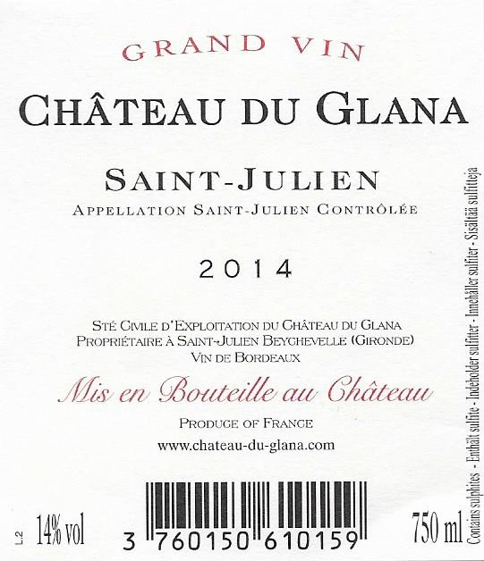 Château du Glana AOC Saint-Julien Red 2014