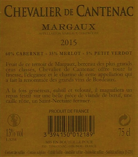 Chevalier de Cantenac AOC Margaux Red 2015