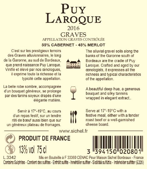 Puy Laroque AOC Graves Red 2016