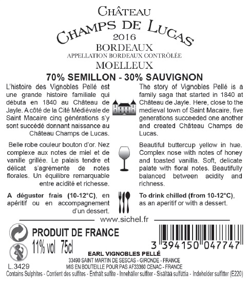 Château Champs de Lucas AOC Bordeaux Medium Sweet white 2016
