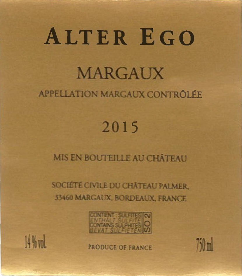 Alter Ego de Palmer AOC Margaux Red 2015