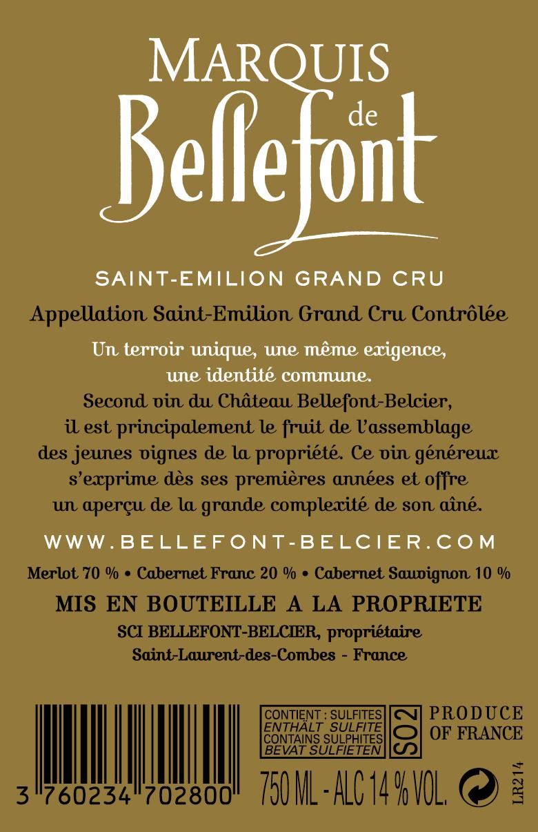 Marquis de Bellefont AOC Saint-Emilion Grand Cru Red 2014