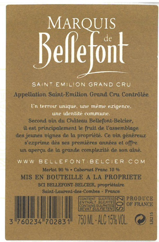 Marquis de Bellefont AOC Saint-Emilion Grand Cru Red 2015