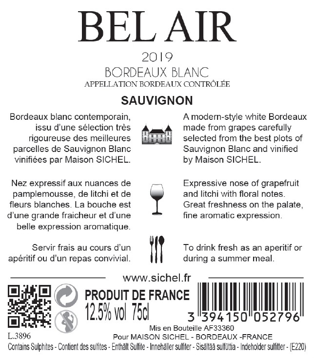 Bel Air AOC Bordeaux White 2019
