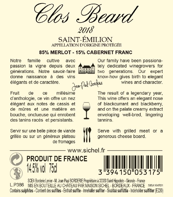 Clos Beard AOC Saint-Emilion Red 2018